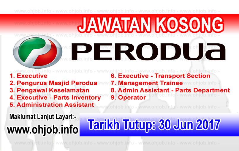 Jawatan Kerja Kosong Perusahaan Otomobil Kedua Berhad - PERODUA logo www.ohjob.info jun 2017
