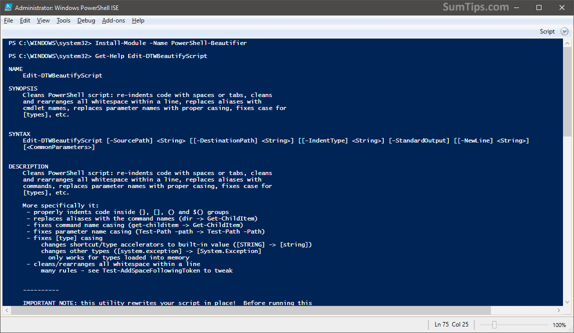 PowerShell Beautifier