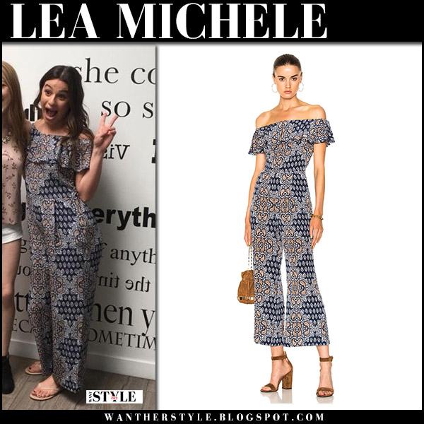 Lea Michele in blue printed off shoulder jumpsuit lagence red carpet october 22 2017