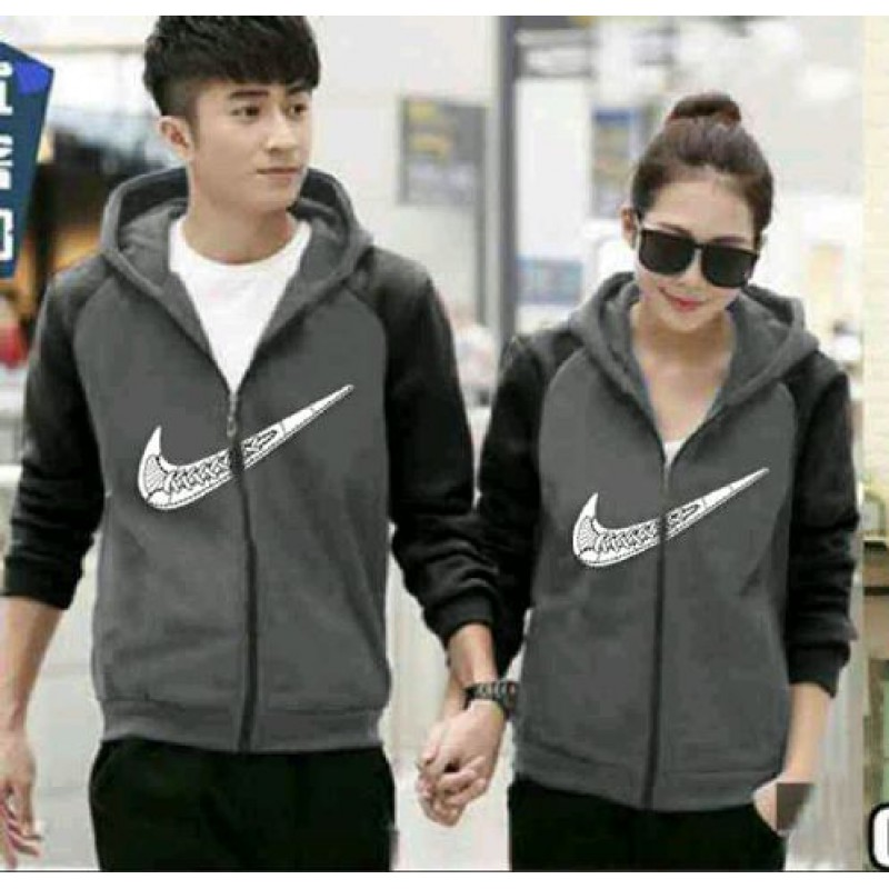 Jual Online Jaket Kimono Nike Grey Black Couple Murah Jakarta Bahan Babytery Terbaru