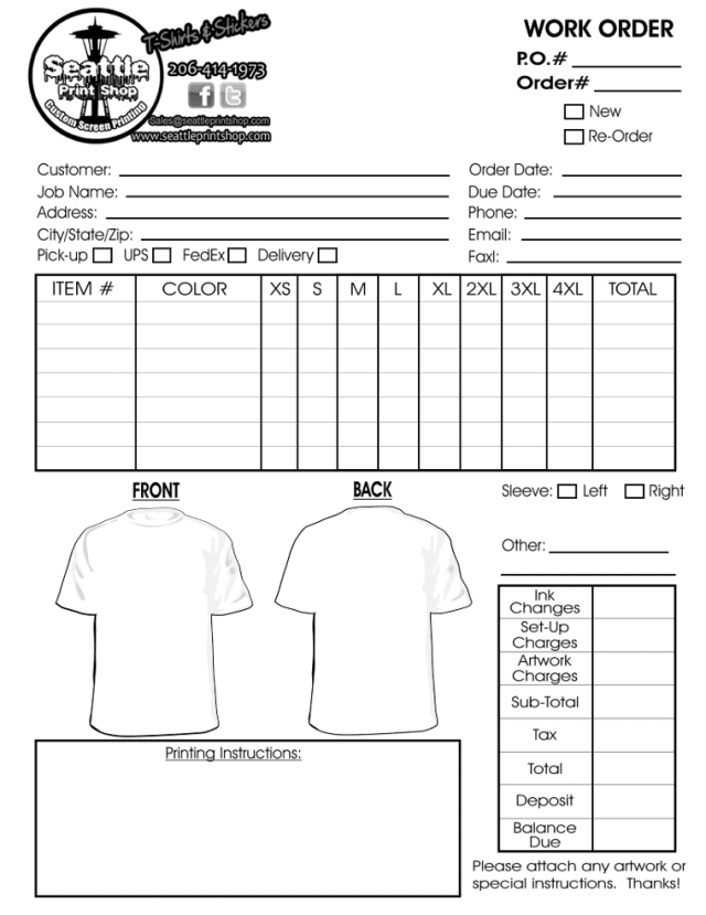 Printable t shirt order forms templates excel template for Embroidery order form template free