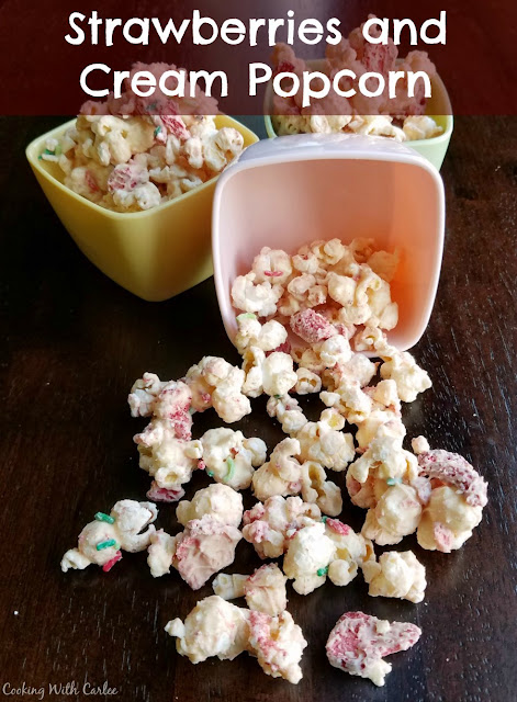 This quick and easy popcorn recipe is a fun munchy for parties. Strawberries and cream popcorn is especially fun in spring, but is great year round.