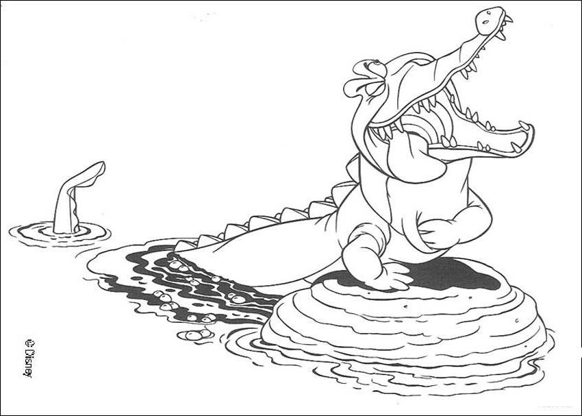 Free coloring pages crocodiles for Immagini peter pan da colorare