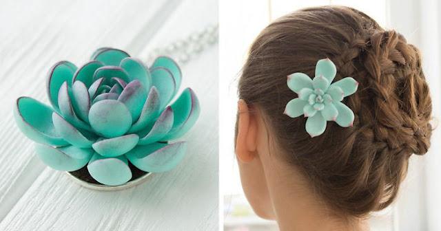 Impresionante accesorios para el cabello basado en polímero parecen flores reales