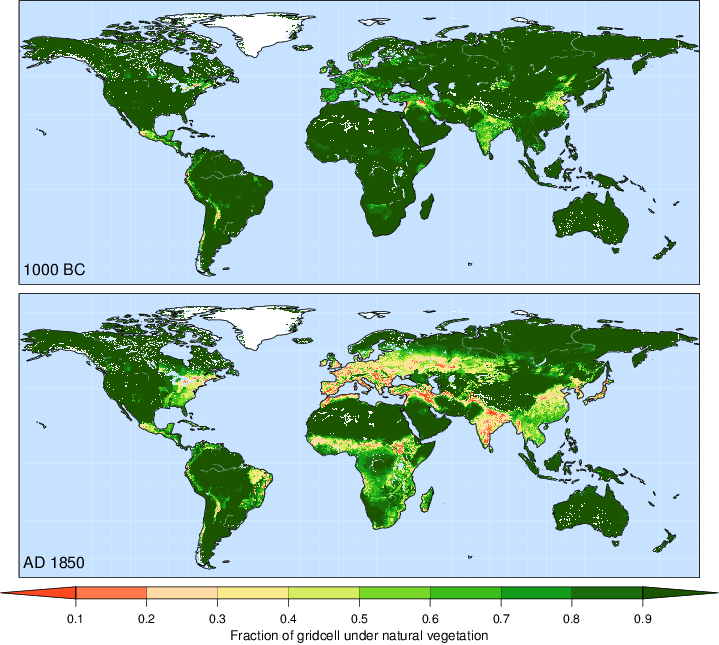Global land use maps at 1000 BC 1850 AD Ecoclimax