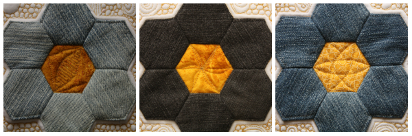 Free motion quilting in hexagons | DevotedQuilter.blogspot.com