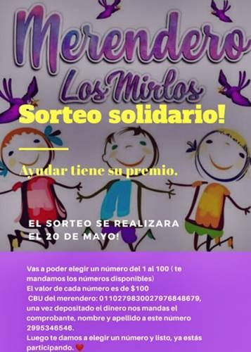 Roca solidaria: Participá de este gran sorteo para ayudar al Merendero Los Mirlos