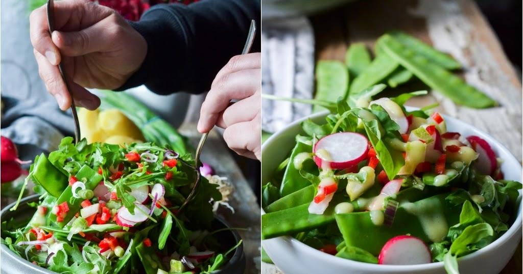 christina macht was zuckerschoten salat mit kartoffeldressing. Black Bedroom Furniture Sets. Home Design Ideas