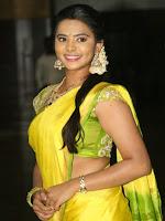 Manasa Himavarsha Hot Photos with Yellow Saree