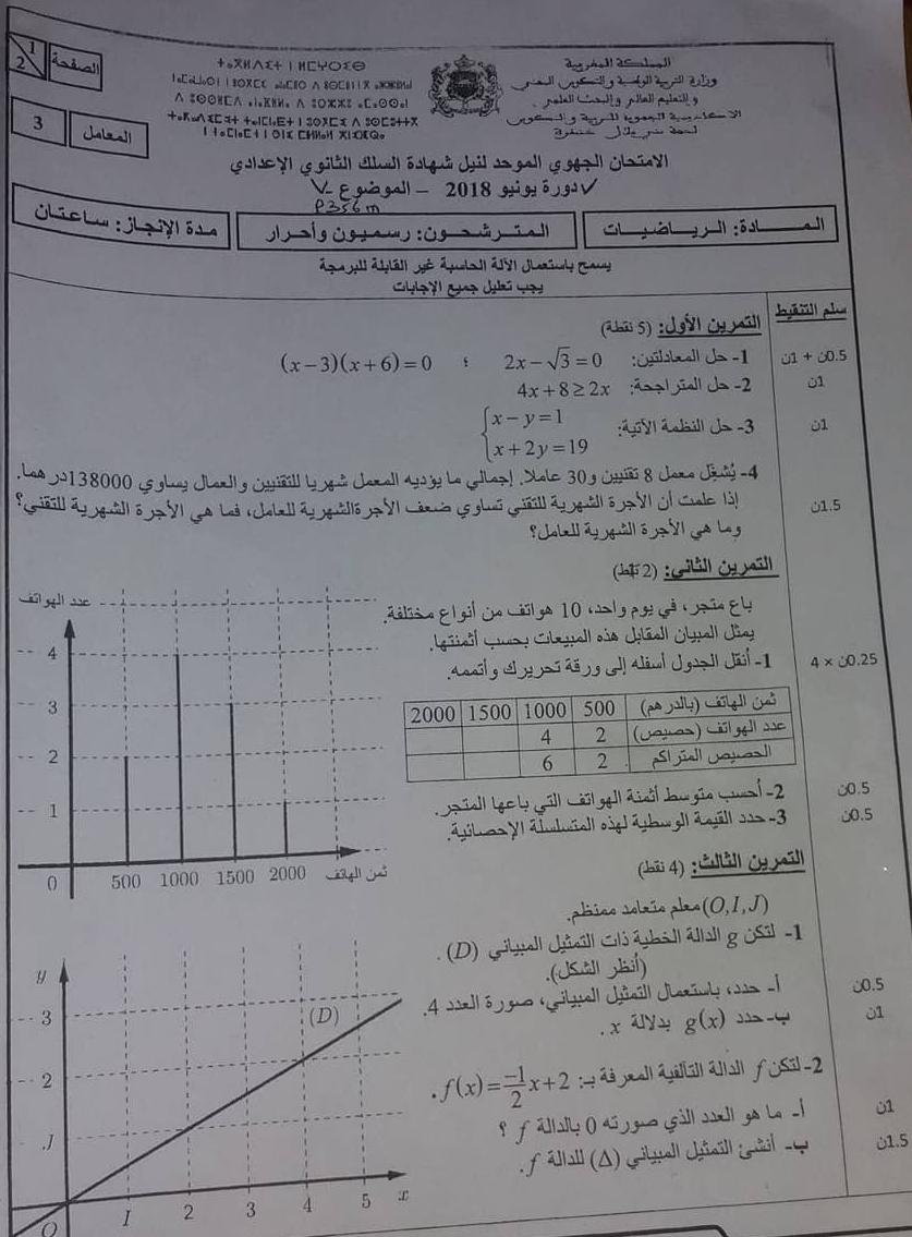 تصحيح الامتحان الجهوي الرياضيات ثالثة اعدادي جهة خنيفرة بني ملال