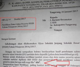 Surat Edaran Disdik Kabupaten Tangerang, Revisi Data CPUN