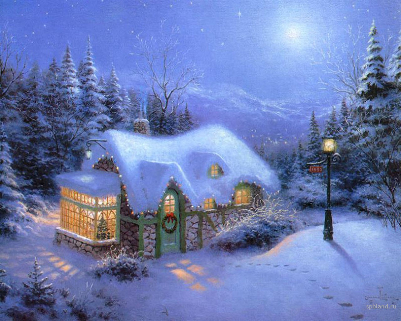Free Christmas ... Thomas Kinkade Disney Paintings Frozen