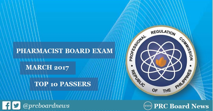 Top 10 Passers List: March 2017 Pharmacist board exam results