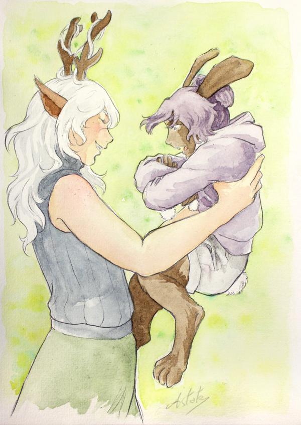 faune et lapin à l'aquarelle