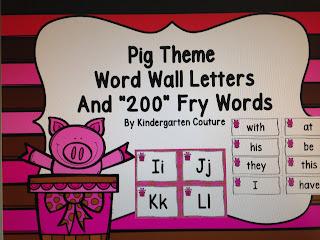 Pig Theme Word Wall
