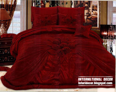 Royal red bedspreads luxurious models 2014, burgundy bedspreads and bedding sets
