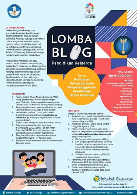 Info Lomba Blog Pendidikan Keluarga Dari Mendikbud