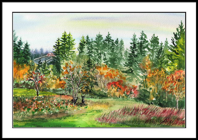 State Of Washington Landscape in Watercolor by Irina Sztukowski
