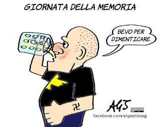 Giornata della memoria, neonazisti, shoah, storia, negazionismo, vignetta, satira