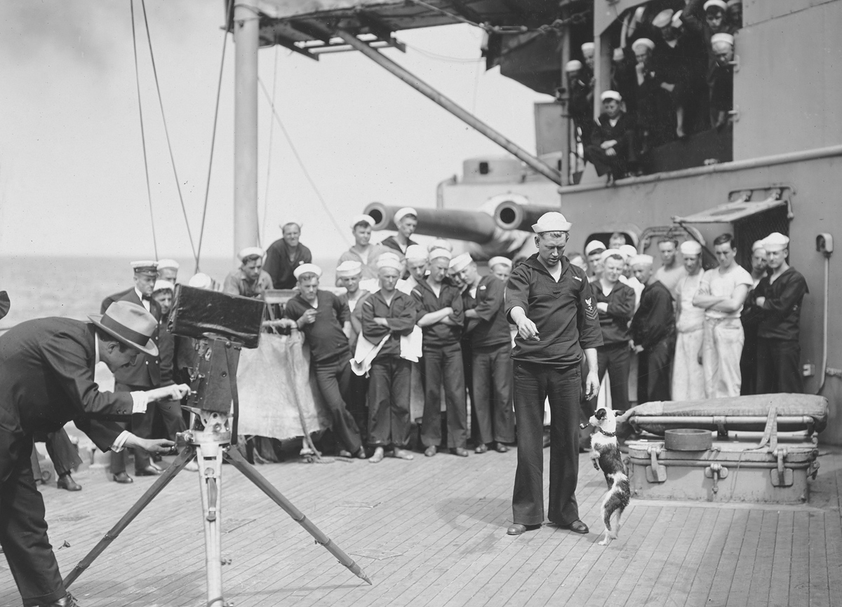Original caption: Mascot of the U.S.S. Pennsylvania, amusing some of the sailors.