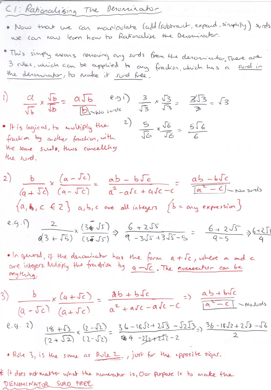 A Level Mathematics C1 Algebra And Functions