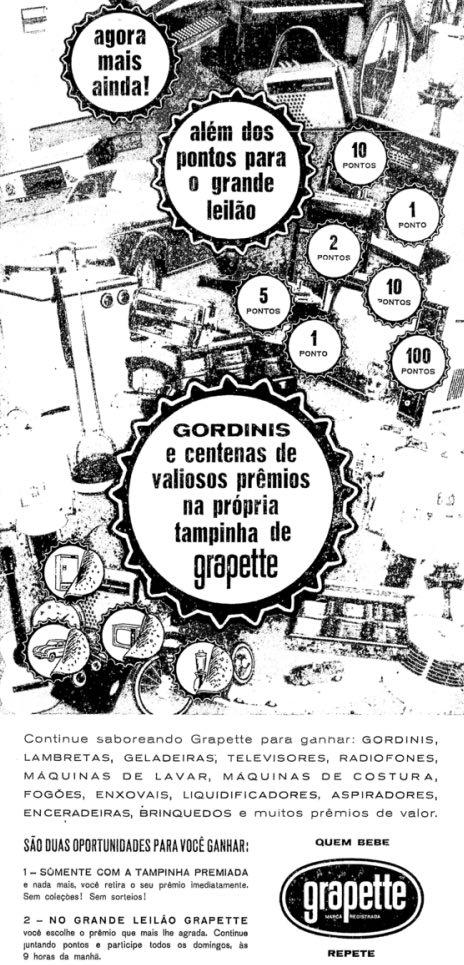 Promoção do Refrigerante Grapette sorteando centenas de prêmios em 1964
