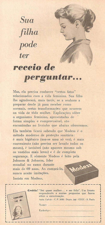 Propaganda antiga apresentando o Modess para a higiene íntima das mulheres mais jovens