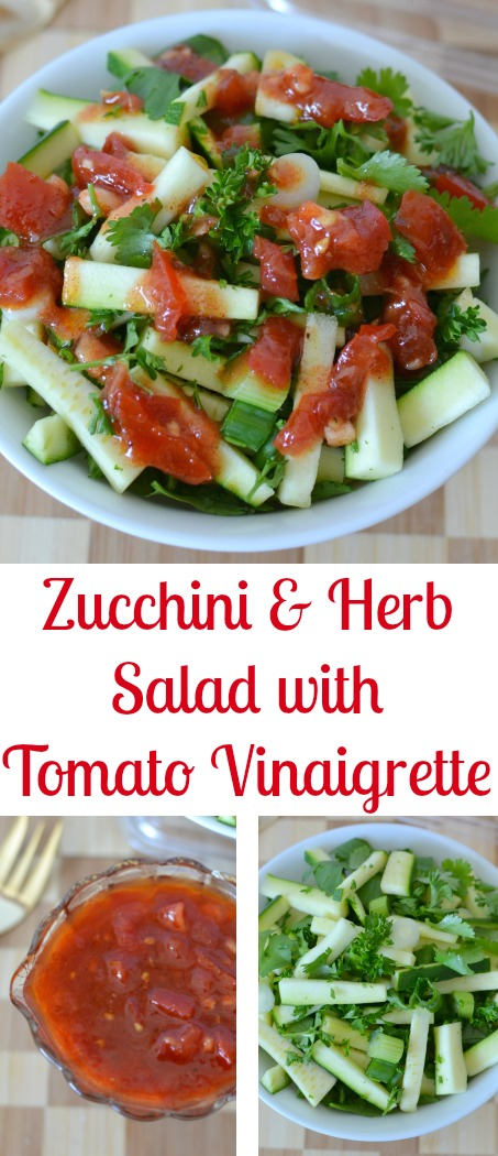 Zucchini and Herb Salad with Tomato Garlic Vinaigrette Recipe from Hot Eats and Cool Reads! A fresh, delicious and healthy salad with parsley, cilantro and green onions that's great as a side, or a meatless main dish. Perfect for spring or summer picnics and barbecues!