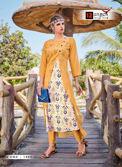 Rose berry vol 3 Party wear Double Layer 12 Angel kurtis