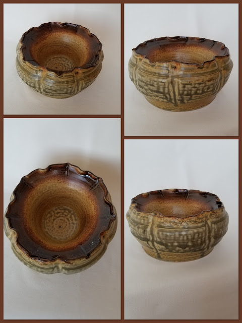 Double walled floral ceramic vessel, pottery by Lily L.