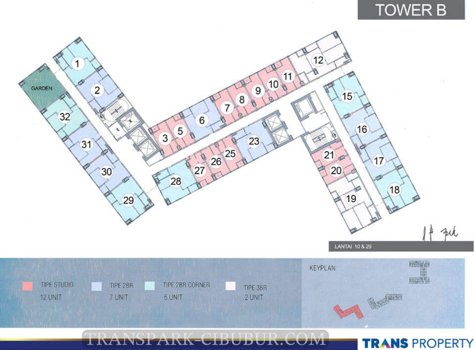 Floor Plan Tower B TransPark Cibubur Apartment