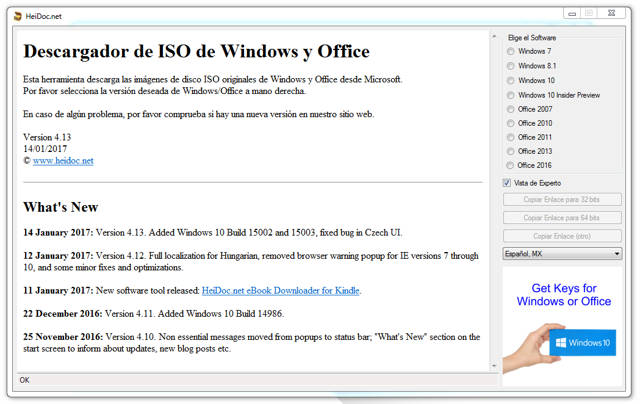 Windows and Office ISO Download Tool Español Imagenes Oficiales