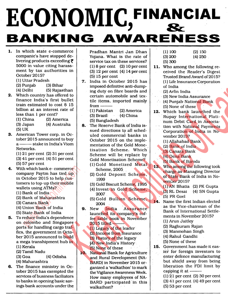 Banking And Financial Awareness By Kiran Prakashan Pdf