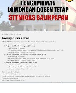 Lowongan Dosen Tetap STTMIGAS Balikpapan – Juni 2016