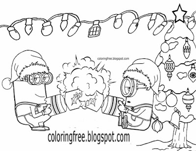Party cracker bang bon bons humorous Christmas coloring minion cartoon drawing sheet for teenagers