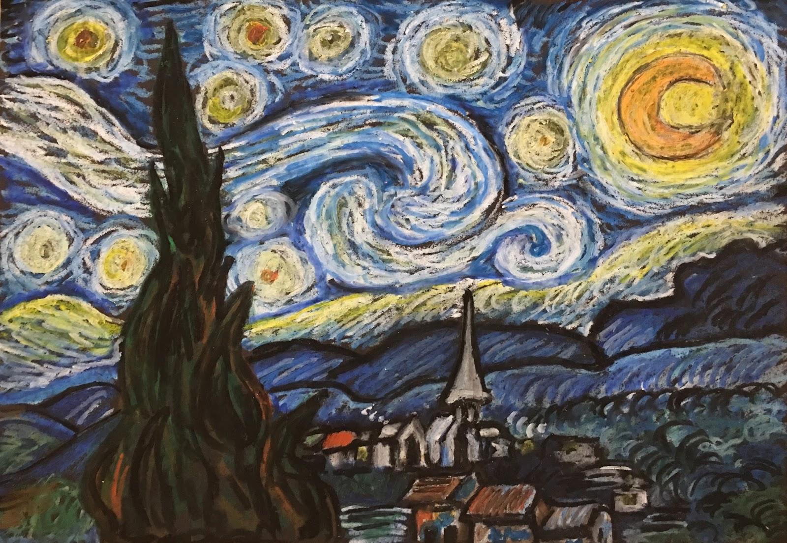 Art Room Britt Van Gogh Starry Night In Oil Pastel