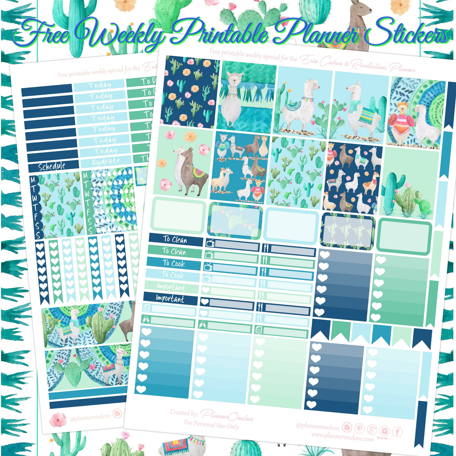 Free Llama Cactus Printable Planner Spread For Ec Recollections