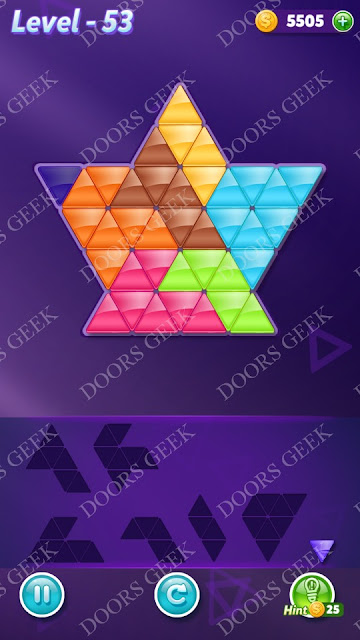 Block! Triangle Puzzle Advanced Level 53 Solution, Cheats, Walkthrough for Android, iPhone, iPad and iPod