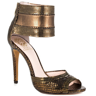 Vince Camuto Latese Bronze Heeled Snakeskin Sandals