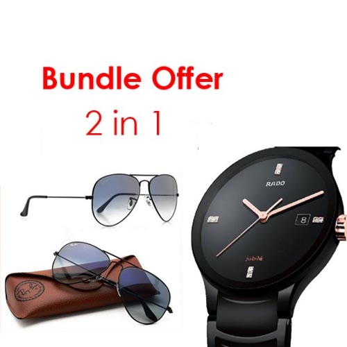 4dfd4aa110a Get ready for this 2 in 1 bundle offer! Payless offering RadoCentrix Black  and Ray-ban Aviator Sunglasses with 55% discount offer.