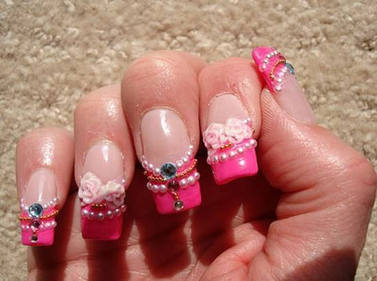 Most Beautiful Creative Pink Color Nail Art Design Ideas For Women