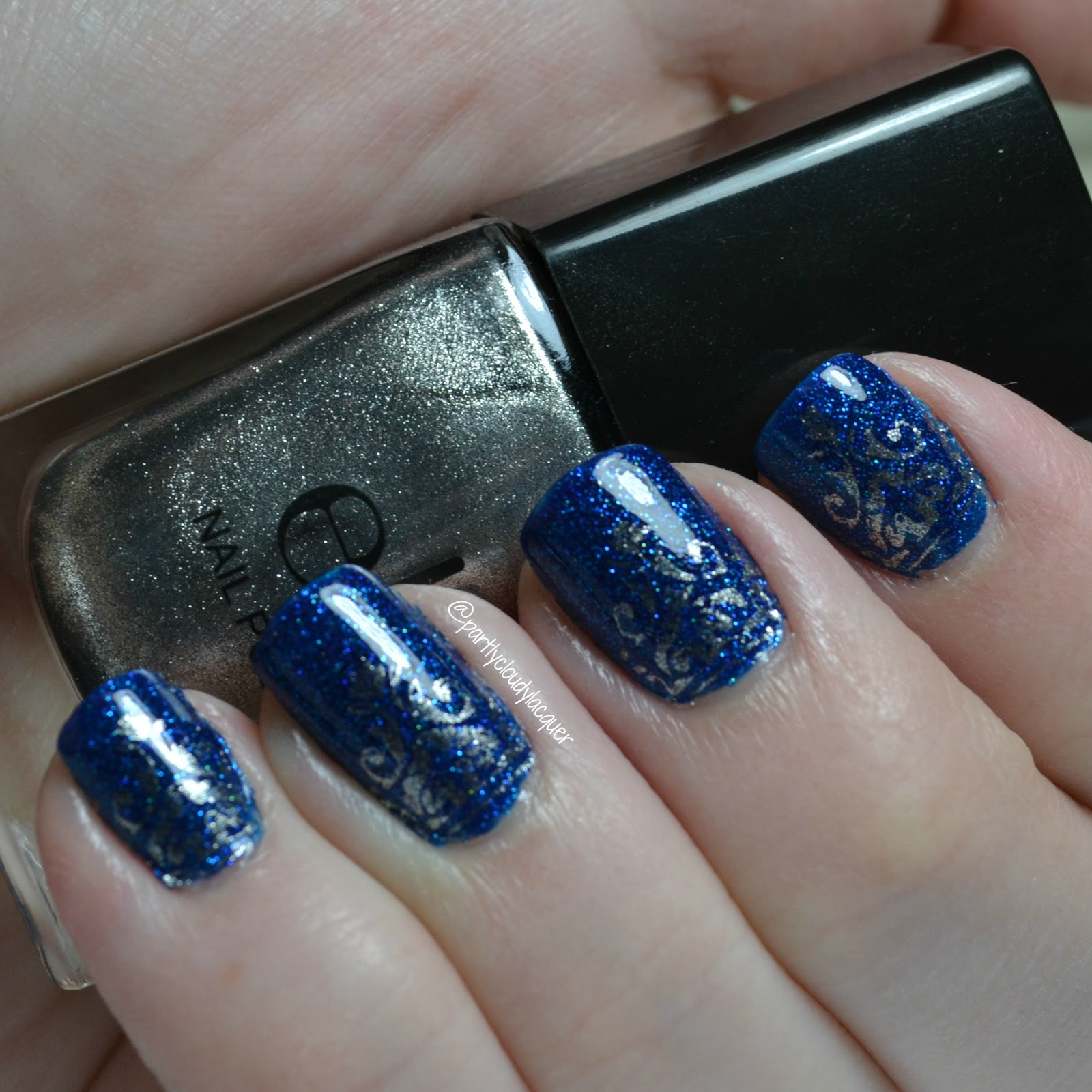 Azature Blue Diamond + Stamping | Partly Cloudy With a Chance of Lacquer