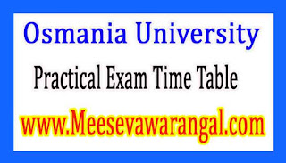 Osmania University B.Ed 3rd Sem Jan 2017 Practical Exam Time Table