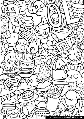 A coloring page of emojis / Värityskuva emoji-kuvakkeista