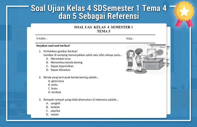 Soal Ujian Kelas 4 SD Semester 1 Tema 4 dan 5
