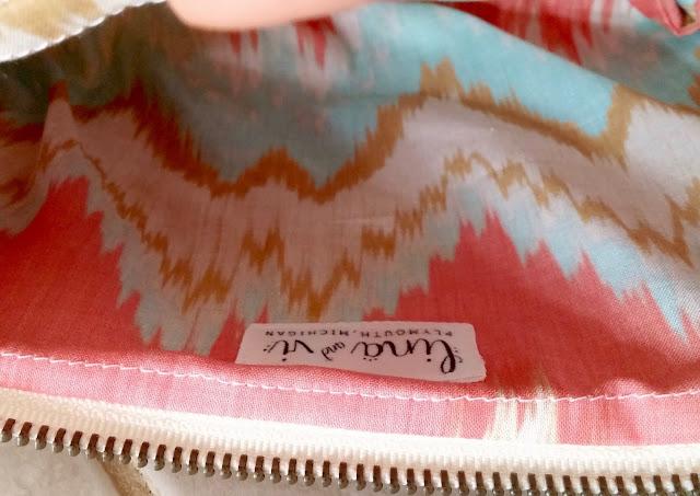 Custom Coral Burlap Cosmetic Bags - Lina and Vi -  Teal and Coral Ikat