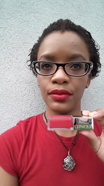 Clinique Pop Liquid Matte Lip Colour + Primer '02 Flame Pop' swatch - www.modenmakeup.com