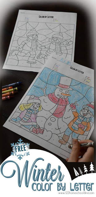 FREE Winter Color by Letter Worksheets are such a fun way for preschool, kindergarten and first grade kids to practice identifying alphabet letters. NO PREP worksheet perfect for winter centers, morning work, or homeschool kids.