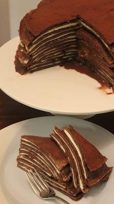 Chocolate and mascarpone crepe cake