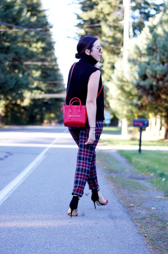 Le Chateau plaid pants, Helmut Lang turtleneck, Celine Nano handbag